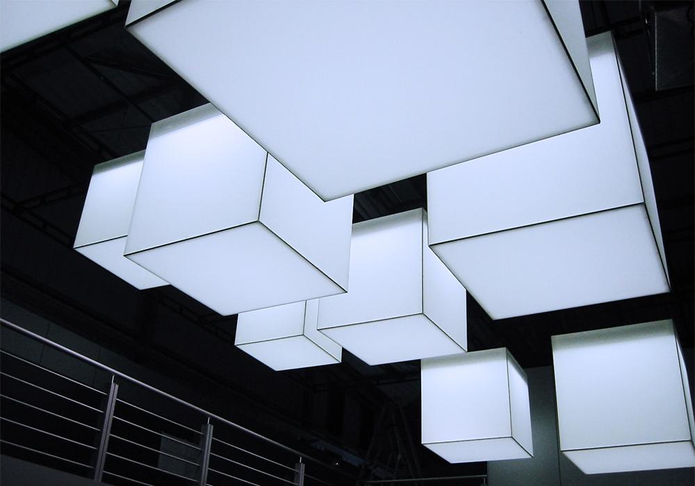 Soluzione in tessuto per illuminazione a soffitto Procedes