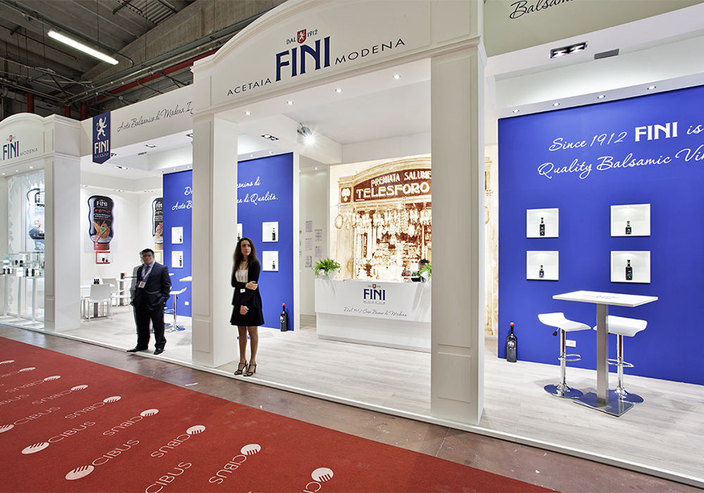 Ingresso dello stand Acetaia Fini al salone Cibus 2014 fiere di Parma