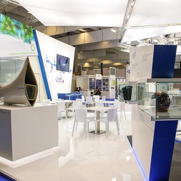 Visione d'insieme dello spazio espositivo Polynt all fiera JEC 2015 di Parigi