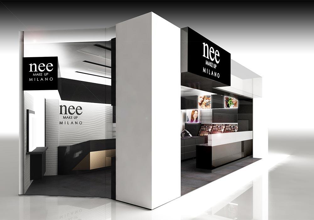 Progetto dell'esterno del punto vendita Nee Make Up di Dubai