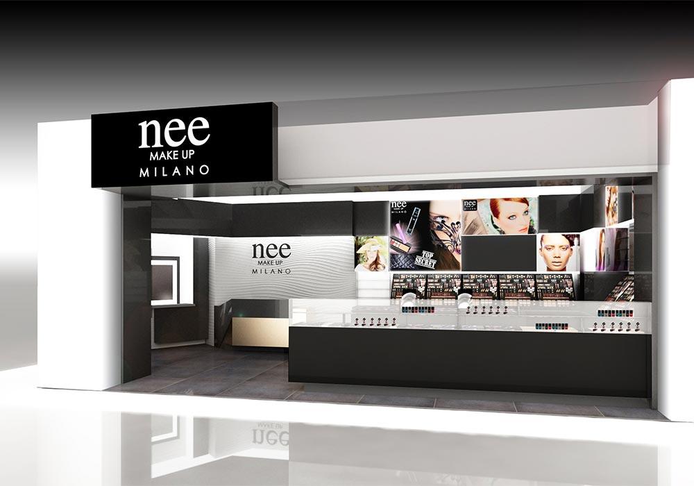 Progetto dell'ingresso del punto vendita Nee Make Up di Dubai