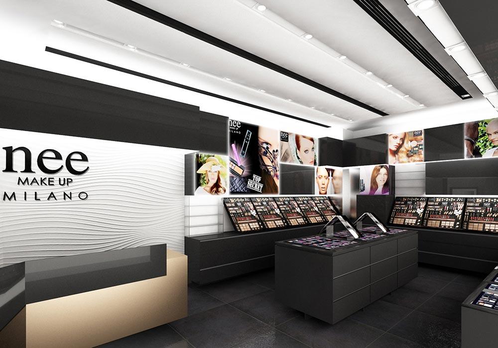 Progetto dell'allestimento interno del negozio Nee Make Up di Dubai