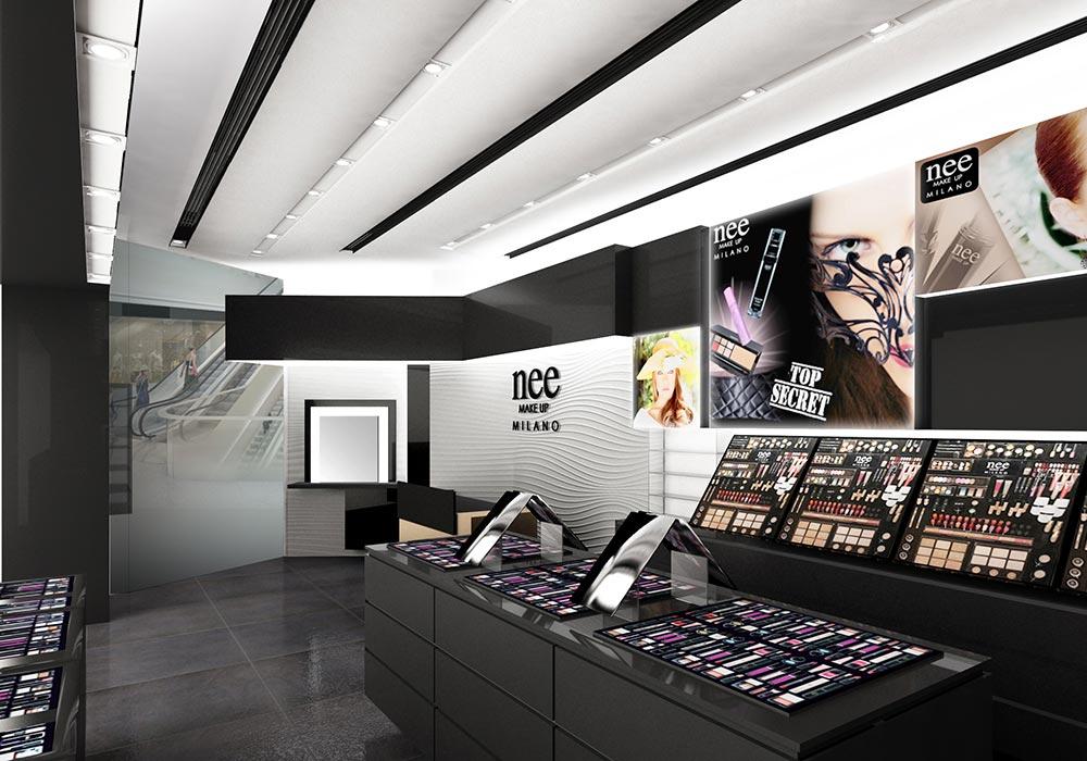 Stampe decorative nel progetto del negozio Nee Make Up di Dubai