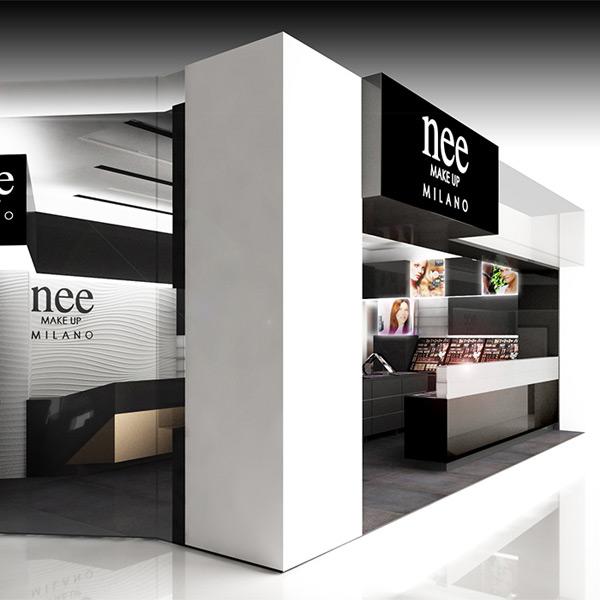 Progetto dell'allestimento per il punto vendita Nee Make Up di Dubai