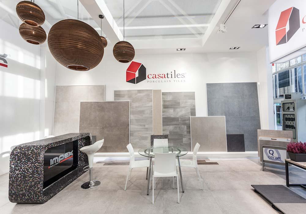 Ceramiche in esposizione nello stand Impex al salone Cersaie 2014 di BolognaFiere