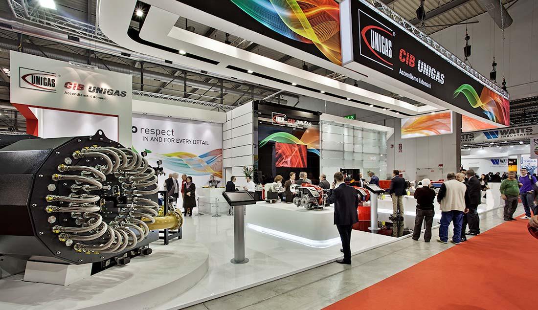 Vista dello stand Cib Unigas allestito per la mostra convegno Expocomfort 2014 alla fiera di Milano