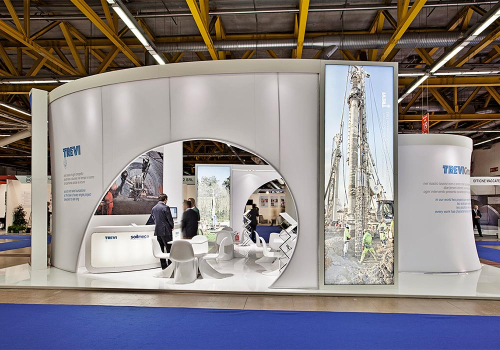 Ingresso caratteristico dello stand Trevi Group al salone ExpoTunnel di Bologna