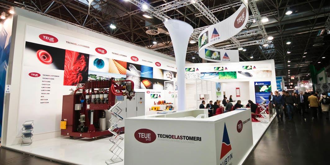 Vista totale dello stand Tecnoelastomeri allestito per la fiera internazionale delle materie plastiche e della gomma K 2010 di Düsseldorf