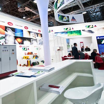 Stand Tecnoelastomeri allestito per la fiera internazionale delle materie plastiche e della gomma K 2010 di Düsseldorf
