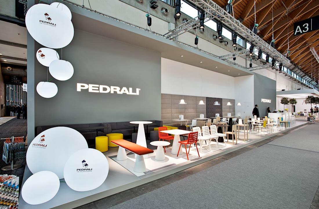 Vista dello stand Pedrali allestito per il Salone Internazionale Gelateria Pasticceria e Panificazione Artigianali SIGEP 2014 alla fiera di Rimini