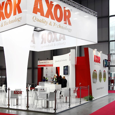 Stand Axor allestito per la mostra internazionale dedicata all'imballaggio e al confezionamento, logistica industriale, macchine per l'industria alimentare IPACK-IMA 2012 alla fiera di Milano