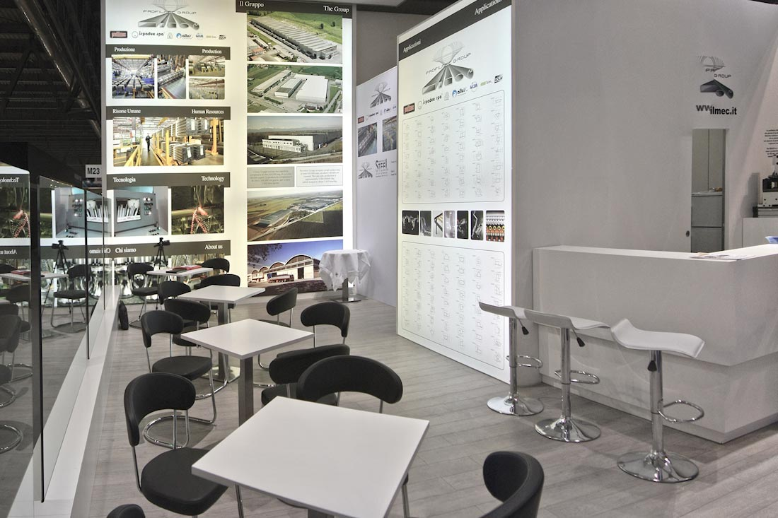Interno dello stand Profilmec allestito in occasione dell'evento Made In Steel 2015 di Fiera Milano