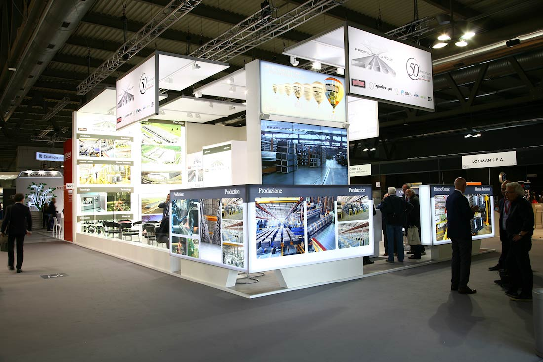 Vista globale dello stand Profilmec allestito in occasione dell'evento Made In Steel 2015 di Fiera Milano