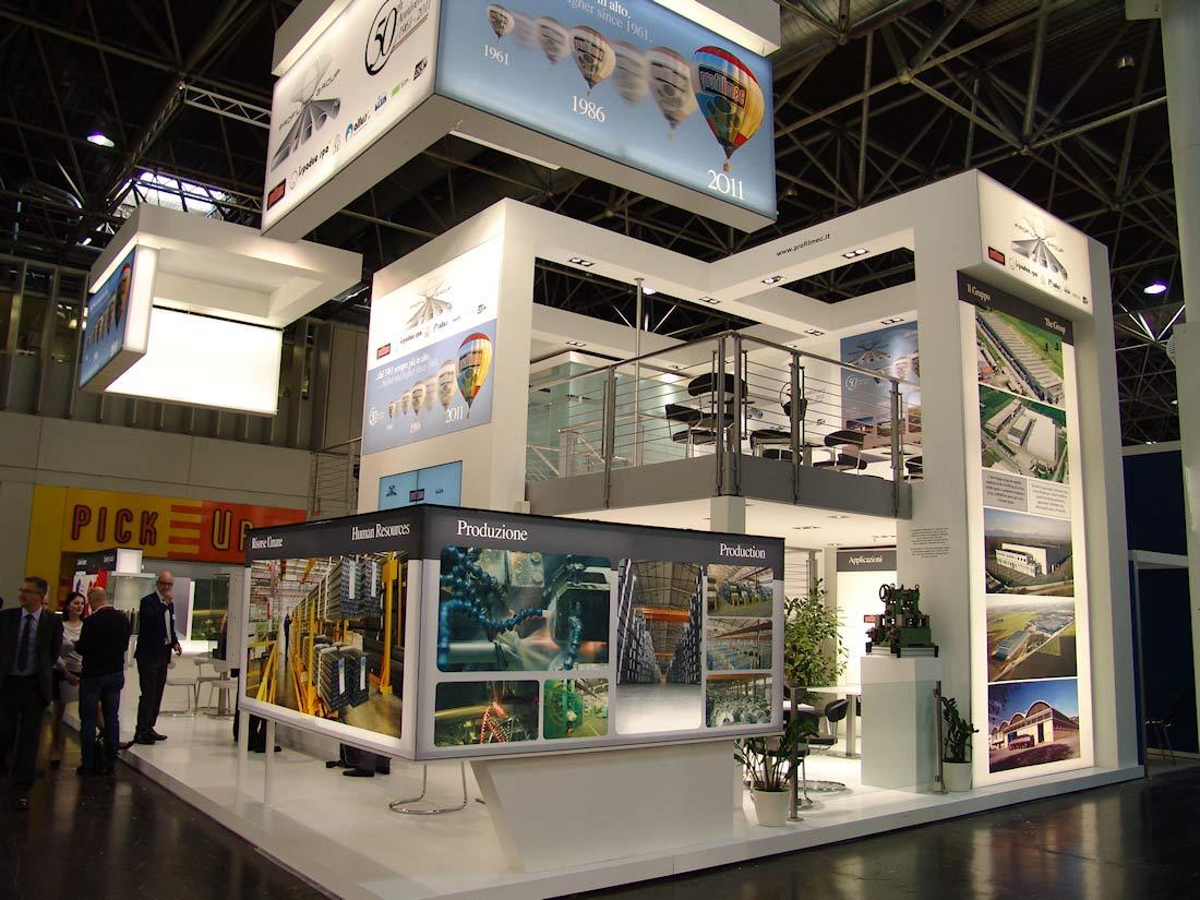Vista dello stand Profilmec allestito in occasione della fiera internazionale Wire&Tube al quartiere fieristico di Düsseldorf