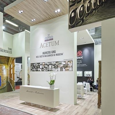 Stand azienda Acetum allestito per il salone internazionale dell'alimentazione CIBUS che si tiene alla fiera di Parma.