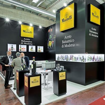 Stand Mazzetti progettato per il Salone internazionale dell'alimentazione CIBUS tenutosi alle fiere di Parma.